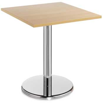 TABLES, CHROME PEDESTAL BASE, Square, 700 x 700 x 725mm height, Maple