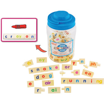 WORD GAMES, TRI-BLOCKS(R) TUB, Age 6-8, Tub of 90 pieces