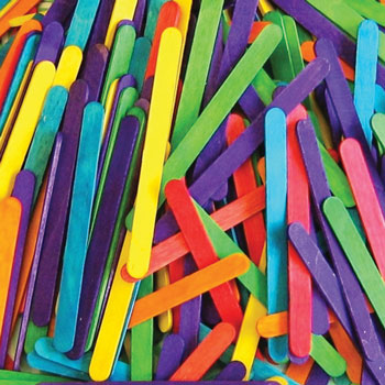 LOLLIPOP STICKS, Assorted Colours, 115 x 10mm, Pack of 1000