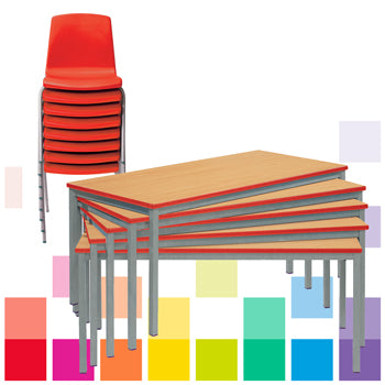 FULLY WELDED TABLES & CHAIRS CLASS PACK, RECTANGULAR, 1200 x 600mm depth, Sizemark 6 - 760mm height, Red, Smartbuy