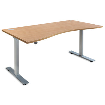 ELECTRIC HEIGHT ADJUSTABLE DESKS, DOUBLE WAVE, 1600mm width, Maple, EMERGENT CROWN