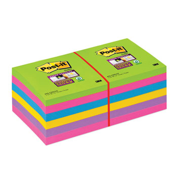 POST-IT(R) SUPER STICKY COLOUR NOTES, Ultra Colours, 76 x 76mm, Pack of 12