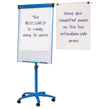 BUZZARD MAGNETIC MOBILE FLIPCHART EASEL, Blue, A1, Pack of 3