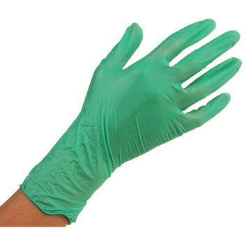DISPOSABLE EXAMINATION GLOVES, SYNTHETIC, Green with Aloe Vera Coating, Medium, Box of 100