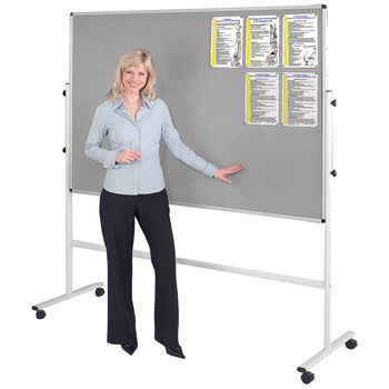 FADE RESISTANT MOBILE NOTICEBOARD, 900 x 1200mm, Grey