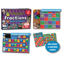 FRACTIONS BOARD GAMES, Set of 6
