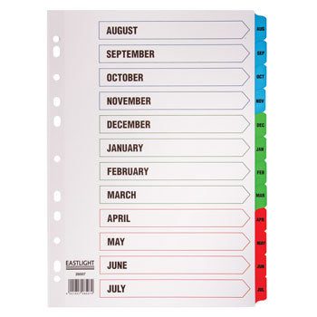 MULTI-PUNCHED TABBED DIVIDERS, CARD, PRINTED POSITION & COLOURED TABS, Academic Year, White, (A4) 223x297mm, Set of 12