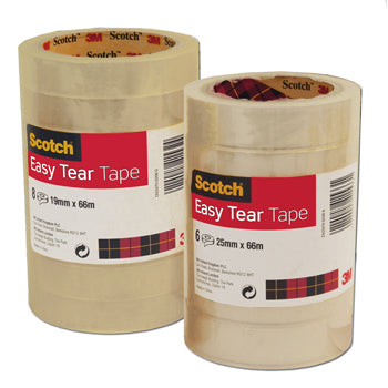 3M(R) SCOTCH(R) 'EASY TEAR' POLYPROPYLENE CLEAR TAPE, Large Core Rolls, 25mm x 66m, Pack of 6