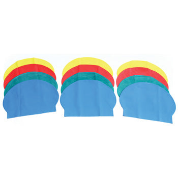 SWIMMING CAPS, Deluxe Latex, Assorted, Pack of 12
