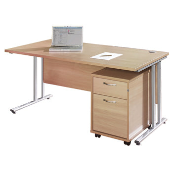 FAST TRACK, SELF ASSEMBLY RANGE, DESKS & STORAGE BUNDLE DEALS, Rectangular Desk & 2 Drawer Unit Bundle, 1600mm width, Maple