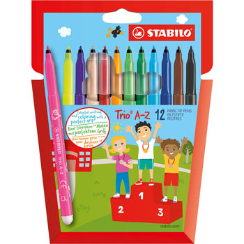 PENS, WASHABLE FIBRE TIP, FINE, STABILO(R) Trio A-Z, Assorted, Pack of 12