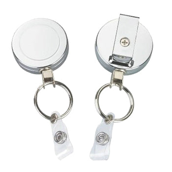 BADGE ACCESSORIES, Snap-Back Badge Reels, Heavy Duty with Key Ring, Each