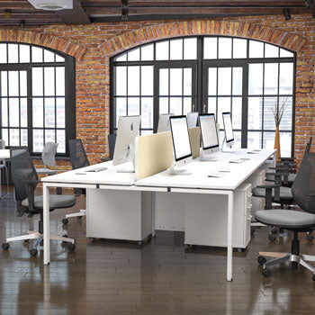 CLUSTER WORKSTATIONS, Clusters of 1400mm Workstations, 6 Seats - 4200mm width, Beech