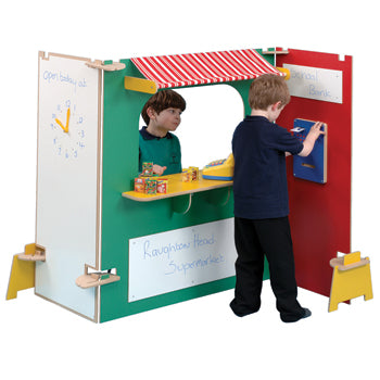 TWOEY TOYS, MAPLE EFFECT & COLOURED PLAY PANEL FURNITURE, Supermarket Stall, For Ages 3+, Coloured