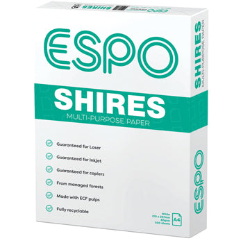 COPIER PAPER, SHIRES Multi-Purpose White, 80gsm, A4, Box of 5 reams