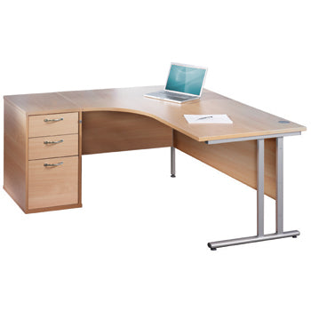FAST TRACK, SELF ASSEMBLY RANGE, DESKS & STORAGE BUNDLE DEALS, Crescent Desk & Drawer Unit Bundle, 1600mm width, Right Return, Maple