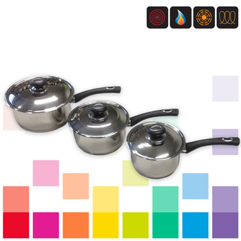 Smartbuy, SAUCEPAN SET, STAINLESS STEEL, Heat Resistant Handles, Set of 3 pieces