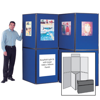 BUSYFOLD(R) FOLDING DISPLAY KITS, Light XL, 7 Panel Unit, With Black Trim, Red