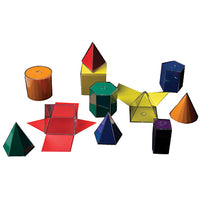 FOLDING GEOMETRIC SHAPES, Coloured, Set of 11 pieces