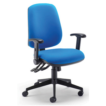 SWIVEL, OPERATOR CHAIRS, HIGH BACK HEAVY DUTY, With Adjustable Foldaway Arms, Ocean