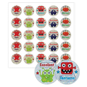 STICKERS, MOTIVATION & REWARD, Monster with Caption, Pack of 100 stickers