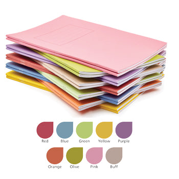 EXERCISE BOOKS, MANILLA COVERS, A4 (297 x 210mm), 48 pages - 75gsm white paper, Red, Half plain/half 20mm ruled, Pack of 25