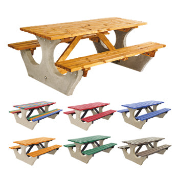CONCRETE AND TIMBER, Bench Table Standard Top, Multi-coloured, Anchor Fast, Each
