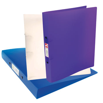 RING BINDERS, 2 RING ('O' Shaped), A4, FLEXIBLE POLYPROPYLENE, Snap Translucent, 25mm Capacity, Assorted (colours may vary), Box of 10