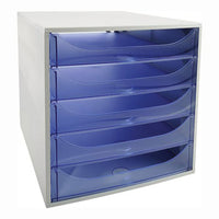 A4 DRAWER TOWERS, 5 Drawer open front, Blue, Each