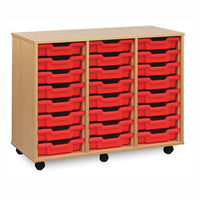 MOBILE TRAY UNITS, TRIPLE COLUMN, 24 Shallow Tray, Without Doors, Maple