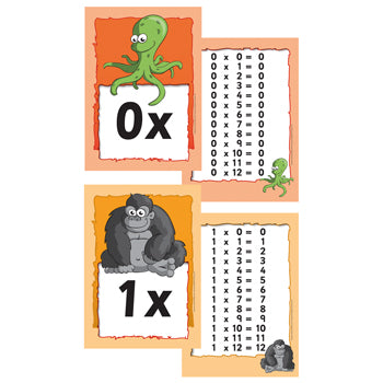 TIME TABLE FLASH CARD PACK, Set of 13