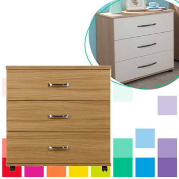 LARGE CHEST OF DRAWERS, With 3 Drawers, Medium Oak, DISS BED CENTRE & FURNITURE W/HOUSE