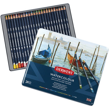 WATER-SOLUBLE COLOURED PENCILS, Derwent Watercolour, Pack of 24