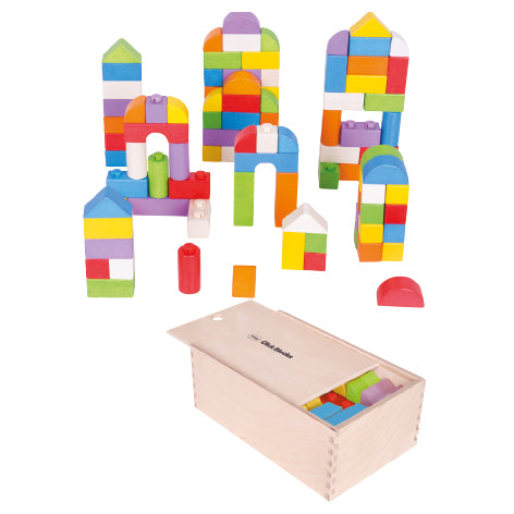 CLICK WOODEN BUILDING BLOCKS, Coloured Class Set, Age 1+, Set of 100 pieces