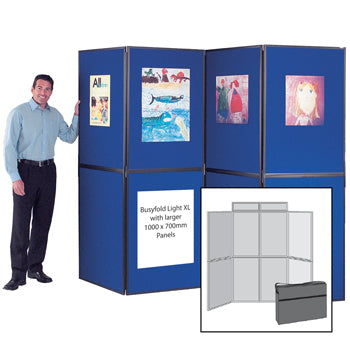 BUSYFOLD(R) FOLDING DISPLAY KITS, Light XL, 8 Panel Unit, With Black Trim, Blue