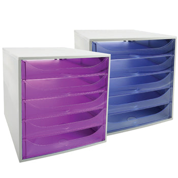A4 DRAWER TOWERS, 5 Drawer Open Front, Purple, Each