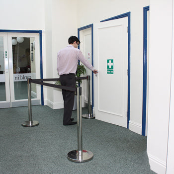 BARRIER QUEUEING SYSTEMS, Post Complete with Black Strap, Single Post Only, Each