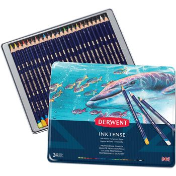 WATER-SOLUBLE COLOURED PENCILS, Derwent Inktense, Pack of 24