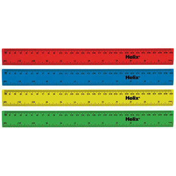 RULER, PLASTIC, 30cm, cm/inches, Coloured, Pack of 100