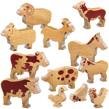 NATURAL WOODEN FARM ANIMALS, Age 12mths+, Set of 12