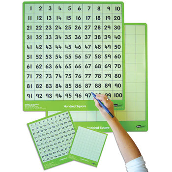 100 NUMBER SQUARES, Boards, Pupil, 160 x 140mm, Pack of 30