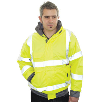 HIGH VISIBILITY WEAR, Waterproof Bomber Jacket, Medium, Each