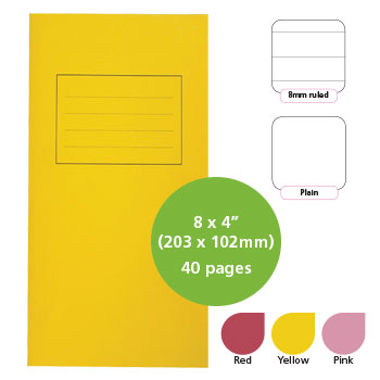 EXERCISE BOOKS, MANILLA COVERS, 8 x 4'' (203 x 102mm), 40 pages - Notebook, Red, 8mm ruled, Pack of 25
