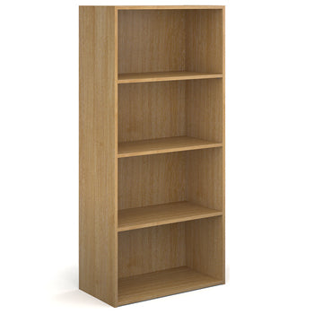 BOOKCASES, Slimline - 390mm depth, 1630mm height with 3 shelves, Oak