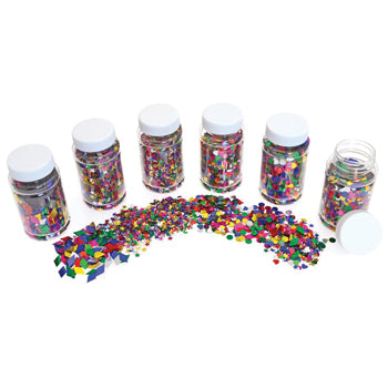 GLITTER, Spangle Shape Mix, Pack of 6 x 100ml