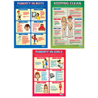 POSTERS, Hygiene and Sex Education, Set 1, Set of 3