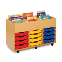 BOOK STORAGE, SINGLE SIDED KINDERBOXES, 6 Bay, Beech