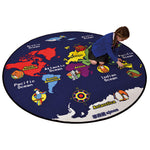 LEARNING RUGS, ECONOMY PILE RUGS, World Map, 2000mm diameter, Each