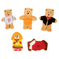 CLOTH FINGER PUPPETS, Goldilocks and the Three Bears, Set of 5