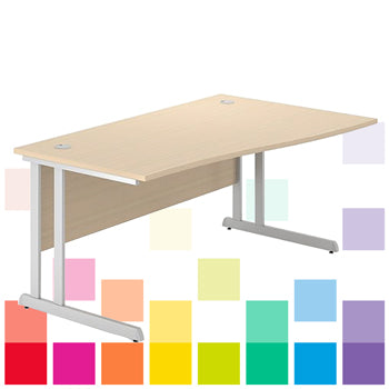 CANTILEVER FRAME DESKS, SINGLE WAVE, 1400mm width, Left Return, Oak, Smartbuy